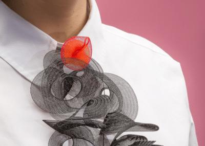 Collier Jabot Spirale - Collection Grenadine et menthe à l'eau